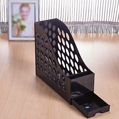 DFHHG® A4 File Rack Libro Stand 27 * 10 * 23 Cm Con el sostenedor de la pluma Cajón File Bar Archivo Caja Información Cestas Negro Violeta durable ( Color : #1 )