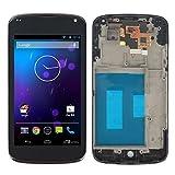 für LG E960 E 960 Goolge Nexus 4 ~Display Full LCD Komplettset Set Touchscreen Glas Scheibe Ersatzteil Zubehör (Schwarz + Rahmen)
