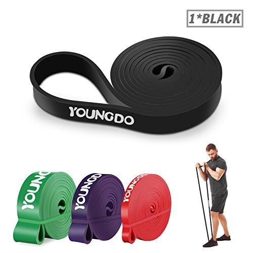 Youngdo Fitnessbänder, Widerstandsband Set mit Tasche und 4 Stärken und 5 Farben (Schwarz 25-65 Pfund)