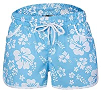 Generic Women Summer Loose Floral Print Beach Hot Shorts M Sky blue