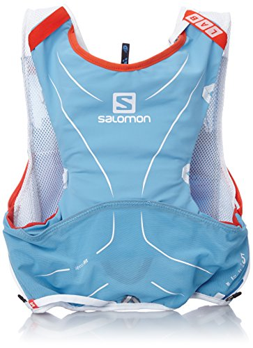 Salomon S-Lab Advanced Skin Backpack - Mochila de Hidratación para Running, Set de 5, color Azul Line/Blanco, talla X-Large