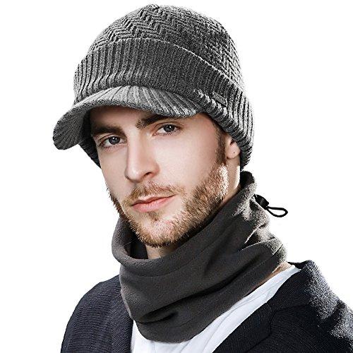 SIGGI graue warme gestrickte Beanie Mütze Baskenmütze Winter Schirmmütze für Herren mit Masken Jeep Mütze