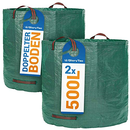 Glorytec XXL Garden Bags 2x500 Liters - Premium Garden Storage Bag Set - Sturdy Garden Bag Made of Extremely Robust Polypropylene Fabric (PP) 150gsm - Garden Waste Bin Self-Standing and Foldable