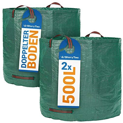 *Glorytec Gartensack 2X 500l mit doppeltem Boden – 4 reißfeste Griffe – Gartenabfallsäcke aus extrem robustem Polypropylen-Gewebe (PP) 150gsm*