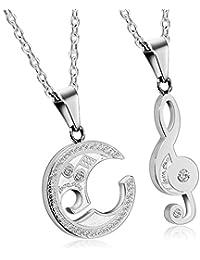 393e0c18bd4a Adisaer Paar Kette Edelstahl Damen Herren Anhänger Silber Gold Schwarz  Halbmond Form Zirkonia Musikalische Note Halskette mit Anhänger…