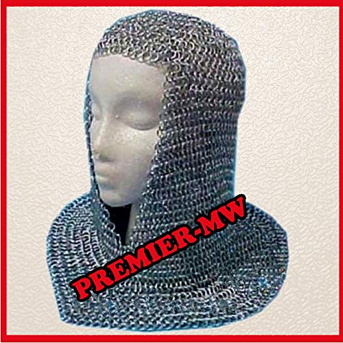 NASIR ALI Chainmail Coif Aluminum V-Neck Chain Shirt Hood Armor Costume Medieval Readjustment (Chainmail Coif Kostüm)