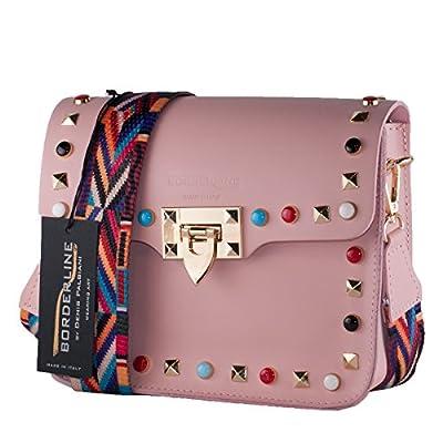 BORDERLINE - 100% Made in Italy - petit sac à main en cuir femme avec crampons et bandoulière en tissu coloré - ARIANNA
