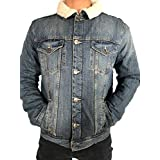MENS SHERPA LINED DENIM JACKET WITH AUTHENTIC WASH SIZES M-6XL