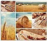 Herdabdeckplatte / Spritzschutz aus Glas, 2-teilig, 60x52cm, für Ceran- und Induktionsherde, Weizen und Mehl Vom Korn zum Brot