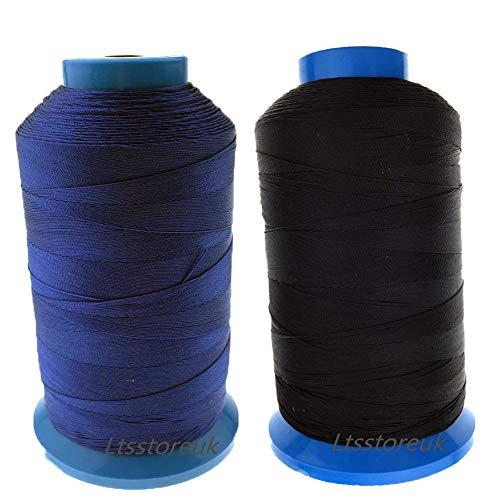 Ltsstoreuk, filo da cucito in nylon rigenerato, misura T70#69, per tappezzeria, tendaggi, perline, bagagli, borse, pelle, scarpe - fili da cucito per macchina da cucire nero e blu, set da 2