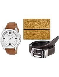 Laurels White Men's Wallet With Watch & Belt- Combo Pack (CP-DIP-301-TT-0602-VT-0209)