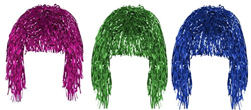 t of 3 Fancy Dress Shiny Metallic Foil Tinsel Wigs Costume Accessory ()