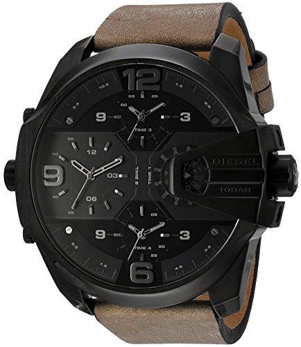 Diesel Herren-Armbanduhr Analog Quarz One Size, schwarz, braun