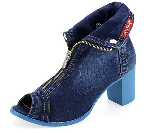 Lanqier Damen Sandaletten Pumps Sandale Jeans Sommer Schuhe 42C150 (39)