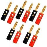 Sonline 10 Lote de Enchufe Banana Conector negro y rojo Estandar