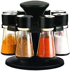Swara Plastic Revolving Spice Rack Masala Box Set, 60 ml, 8-Pieces, Black