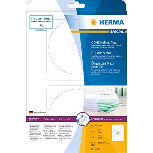 Herma CD Etichette Maxi ø 116, 50 pezzi, bianco