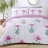 Flamingos Palme Blätter Blumen Pink Baumwollmischung Einzelbett Bettbezug