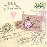 20 Servietten Love Letter - Liebesbrief / Liebe / Vintage 33x33cm