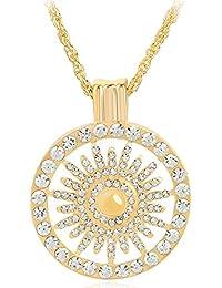 Clocolor Collier Pendentif FémininRond de Pétales Opals Vide en Diamant