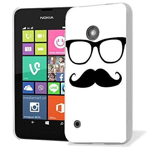 Mobile Case Mate Nokia Lumia 530 clip on Silicone Coque couverture case cover Pare-chocs + STYLET - moustache sunglasses pattern (SILICON)