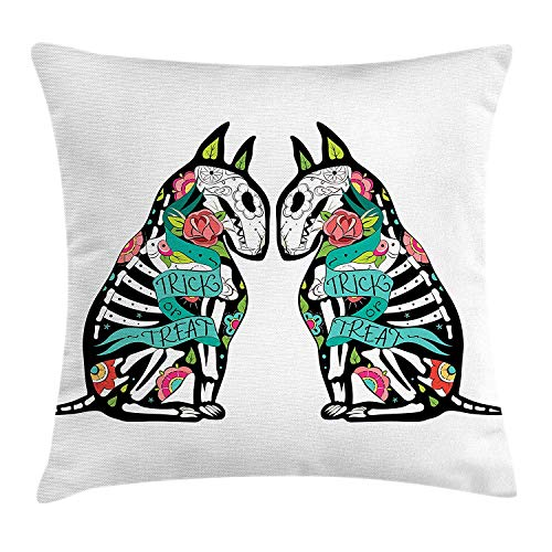 Throw Pillow Cushion Cover, Skeleton Demon Figures Flowers and Trick or Treat Quote Ethnic Holiday Design, Decorative Square Accent Pillow Case, 18 X 18 Inches, Multicolor ()