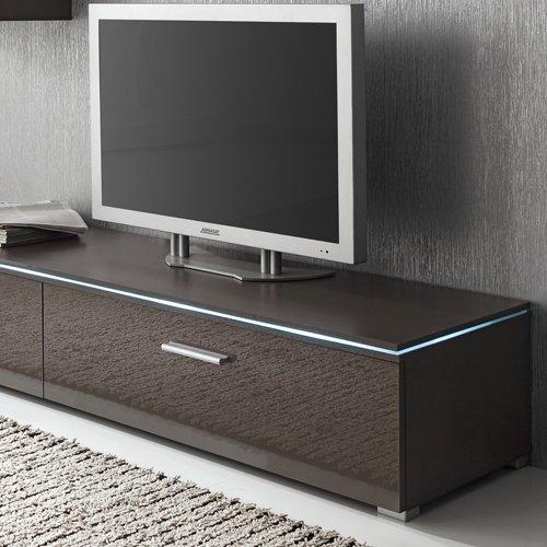 Anbauwand 3-tlg. in Hochglanz grau, TV-Element, Hängevitrine, Glasbodenpaneel, Mindestbreite: ca. 180 cm, Tiefe: ca. 40 cm - 4