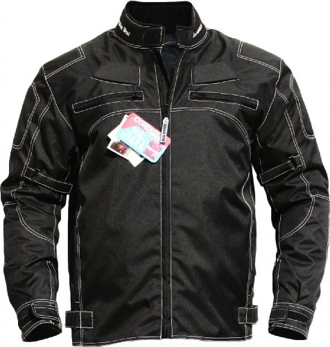 German Wear - Chaqueta para motocicleta de tejido, color negro