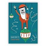 4 Retro Weihnachtskarten mit ihrem Foto als Weihnachtsmann mit ihrem eigenen Innen-Text - ohne unser Logo a.d. Rückseite