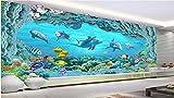 BZDHWWH Benutzerdefinierte Wandbild 3D Hintergrundbild Delphin Fisch Coral Home Dekoration Gemälde Malerei 3D Wandbilder Tapeten Für Wohnzimmer Wände 3D, 150 Cm (H) X 225 Cm (W)