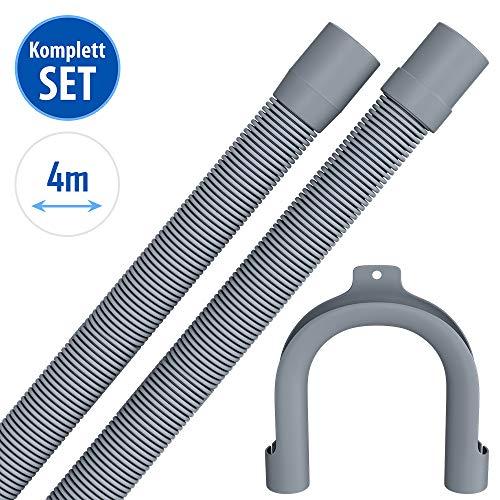 4m Ablaufschlauch für Waschmaschine Geschirrspüler Flexibler Abwasserschlauch für Waschmaschine 4 m 19/22mm Gerade/Gerade mit Bügel