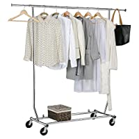 """Yaheetech 5 FT Long X 6.5 FT Height Heavy Duty Hanging Clothes Rail Hanging Garment Clothes Rail Rack with Shoes Shelf,Adjustable 65.9-70.7"""" 9 (Height)"""