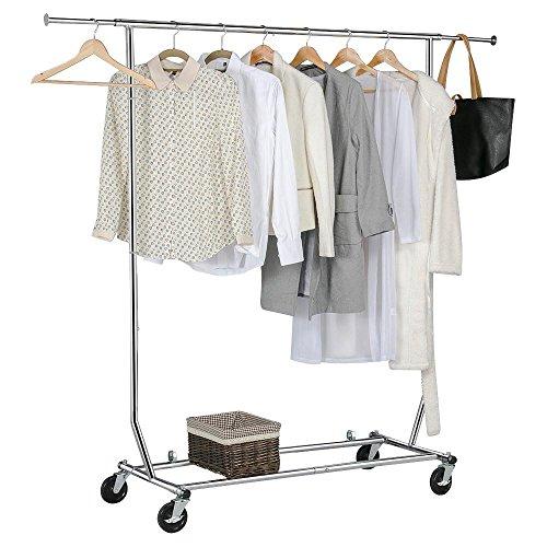 Yaheetech Kleiderständer Kleiderstange Garderobenständer mit Rollen, Edelstahl Garderobeständer,130 x 56 x 165 cm, klappar max. Belastbarkeit 130 kg