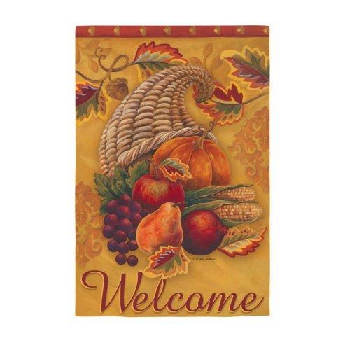 Bienvenue corne d'abondance Evergreetings Garden carte et drapeau