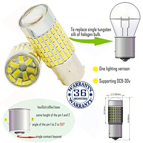 Preisvergleich Produktbild Wiseshine ry10w 7507 5009 1156py bau15s s25 led birne lampen DC9-30v 3 Jahre Qualitätssicherung (2 Stück) bau15s 144smd 3014 rot