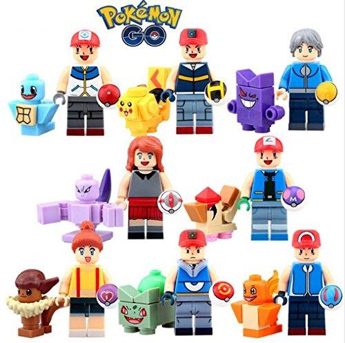 8 set Pokemon Go Minifigure Ash Ketchum Misty Calem Nidoking Squirtle Pikachu Bulbasaur Building Block Toys Pokemon PokeBall Super Master Pokemon Ball KidsToys (Pokemon-master-set)