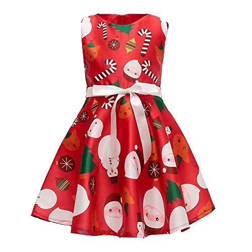 Beikoard Weihnachten Kleidung, Karikatur Sankt DruckPrinzessinen Kleid Weihnachtsoutfits Prinzessin Kleid Outfits Kleidung Party Kleid
