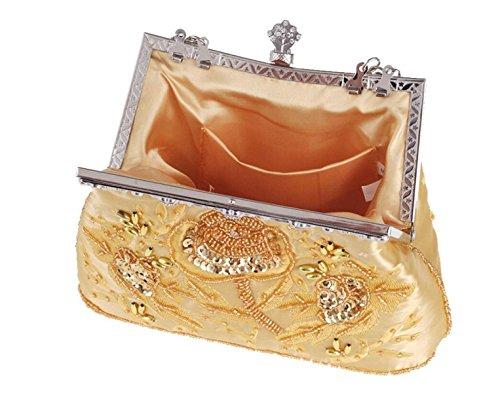 GSHGA Braut Handtasche Handtasche Tasche Crossbody Abendtasche Silver Stickerei Black Bag Tote Mode Tasche Retro rtqYr