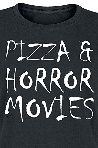 Pizza & Horror Movies Girl-Shirt Schwarz Schwarz
