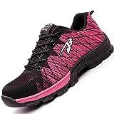 H-Mastery Zapatillas de Seguridad para Hombre Mujer Zapatos Trabajo con Punta de Acero(Rosa,talla35)