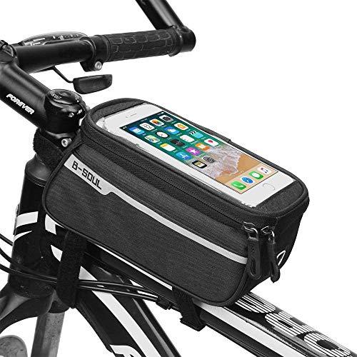 Sopito Bolsa de Cuadro de Bicicleta, Bolsas para el Manillar de la Bicicleta Soporte para teléfono a Prueba de Agua Mountain Road Bolsa de Bicicleta