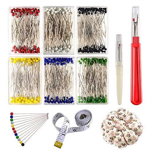 zealor Nähen 600Stück Nähen Pins 38mm multicolor Glas Ball Head Pins mit Nähen Naht Ripper Nadelkissen und weiche Maßband für Schneidern Jewelry Komponenten Flower Dekoration