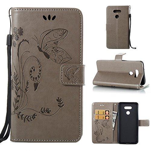 Solid Color Faux Leder Bookstyle Brieftasche Stand Case mit geprägten Blumen & Lanyard & Card Slots für LG G6 ( Color : Coffee ) Gray