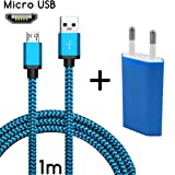 TheSmartGuard Original 2in1-Set mit Motorola Moto G Netzteil Ladegerät und Motorola Moto G Ladekabel (1 Meter/1m)/Datenkabel/Kabel in Blau - Neu mit überarbeiteter Ladegeschwindigkeit!