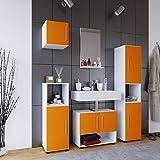 VCM Badmöbel Set Komplettset 5-tlg Bad Badezimmer Badschrank Unterschrank Spiegel Hängeschrank Weiß/Orange