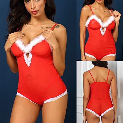 Kostüm 60's Up Dress 70's - Mitlfuny Festival Weihnachten Halloween Oktoberfest Karneval Zubehör,Dress up,Dekoration,Neue Frauen-reizvolle Weihnachtsfest-Hohle V-Ansatz Spitze-Bodysuit-Overall-Wäsche