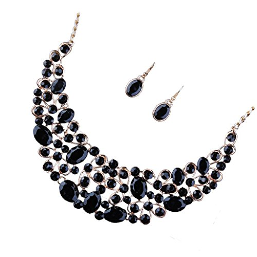 Segolike Exaggerated Wedding Bridal Crystal Statement Bib Necklace Earrings Jewelry Set - black  available at amazon for Rs.475