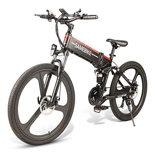 Bicicleta E de 26 pulgadas Cambio de marchas de 21 velocidades┃ Bicicleta eléctrica Bicicleta de montaña plegable┃ Neumáticos Bicicleta eléctrica con motor sin escobillas 350W 48V Batería de litio de