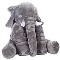 Tplay Elephant Pillow Baby Fluffy Giant Snuggle Elephant Plush Pillow Soft Toy Shower Gifts For Children Kids 24 Inches 1kg Grey