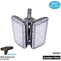 LED floodlight 100W 2 Heads - Outdoor Security Lights Super Bright 1200 lumen 1000W Halogen Lights Equivalent Replacement Daylight White Waterproof IP67,Adjustable flood lights includes 3 Way Cable Connector,By Brightfour